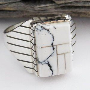 White Buffalo Turquoise Sterling Silver ring SZ 13